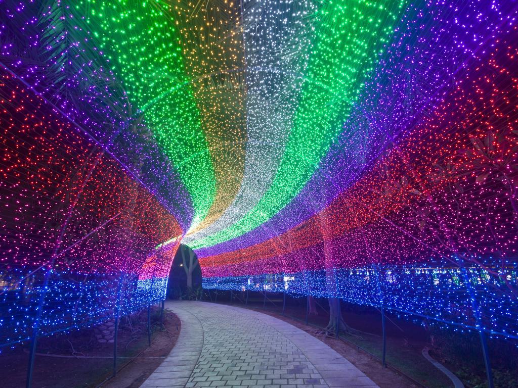 Ein Lichtertunnel im Dubai Garden Glow