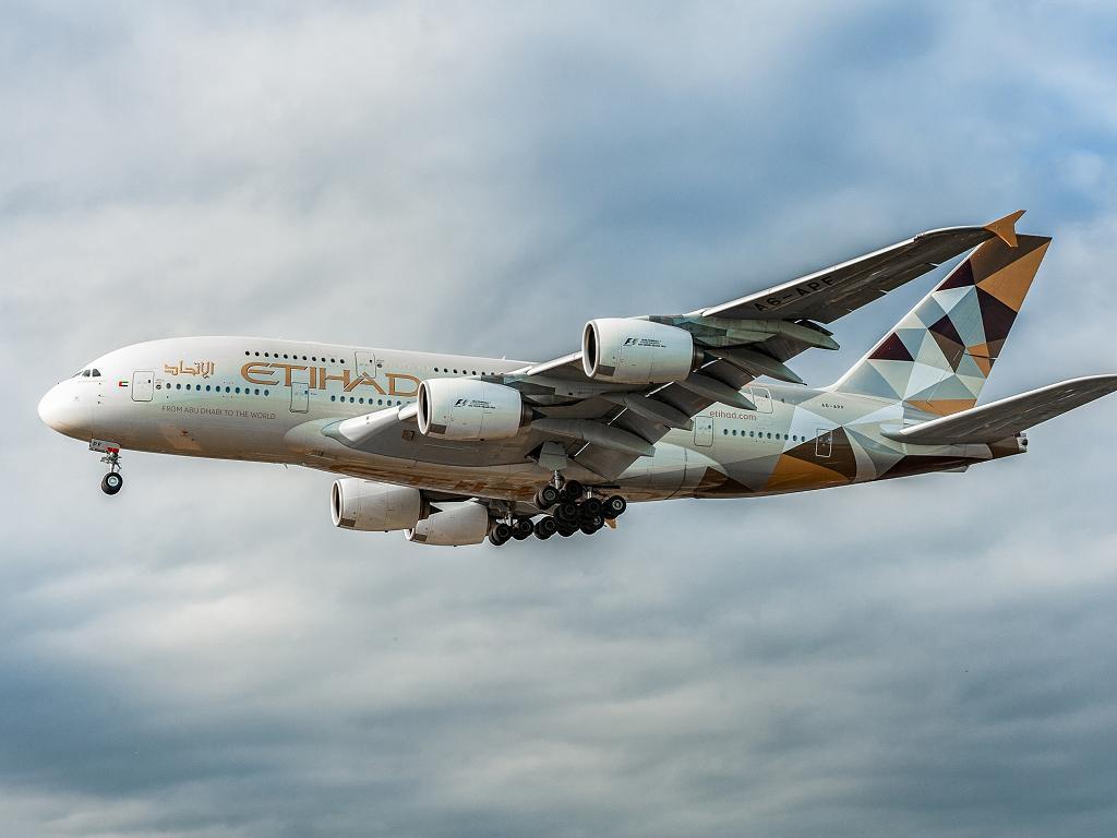 Ein Airbus A380 von Etihad Airways