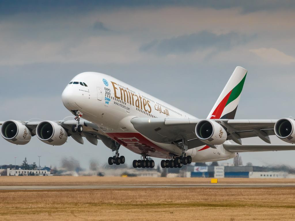 Emirates Airline A380 beim Start