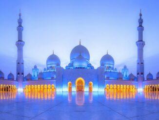 Sheikh Zayed Moschee in Abu Dhabi am Abend