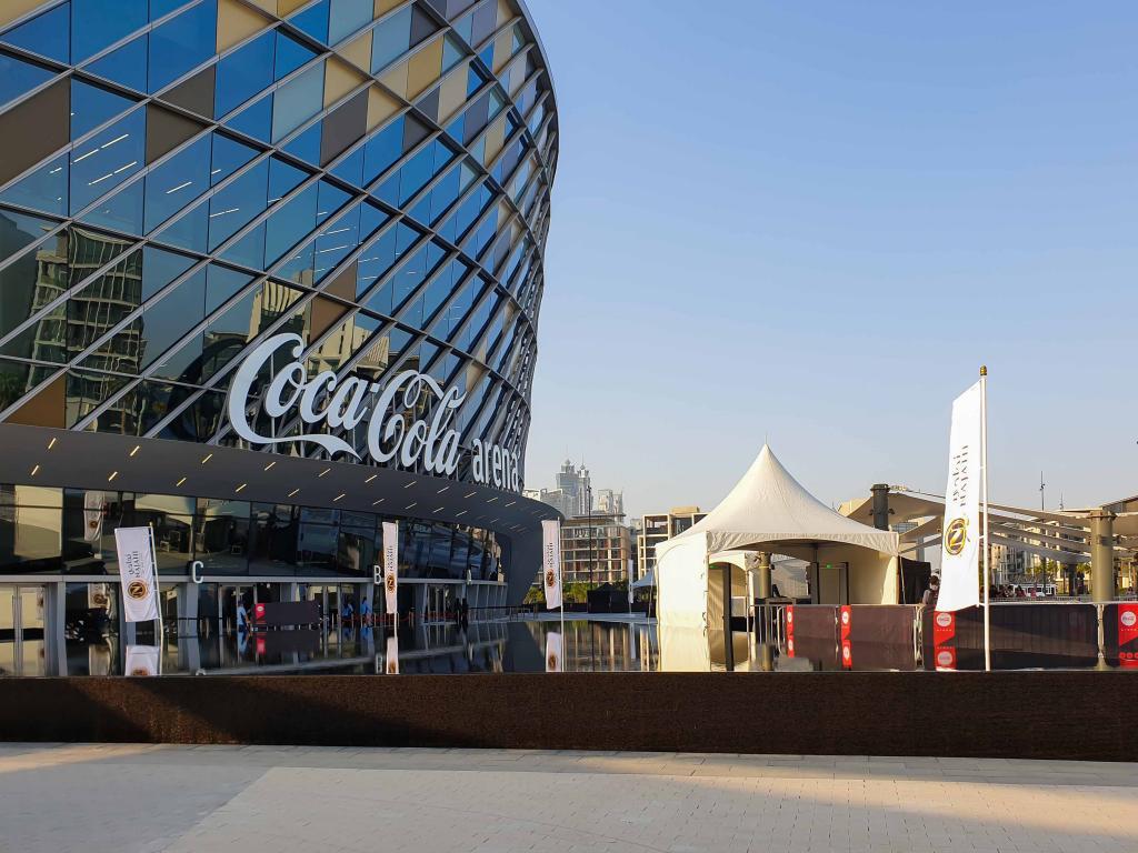 Der Eingang zur Coca-Cola Arena